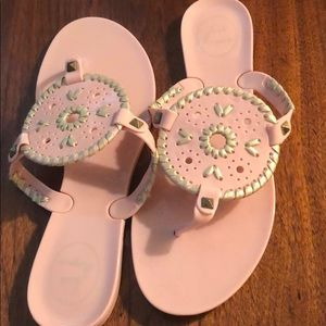 Jack Rogers jelly shoes in light pink with gold